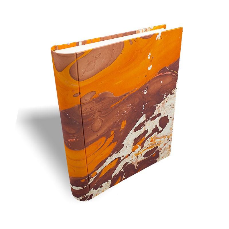 Photo album in marbled paper brown orange Merida - Conti Borbone - standard prospective