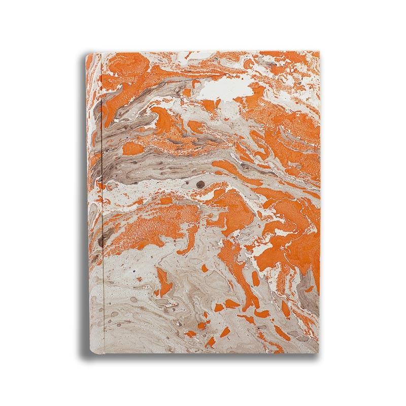 Photo album in marbled paper brown orange Francesca - Conti Borbone - standard