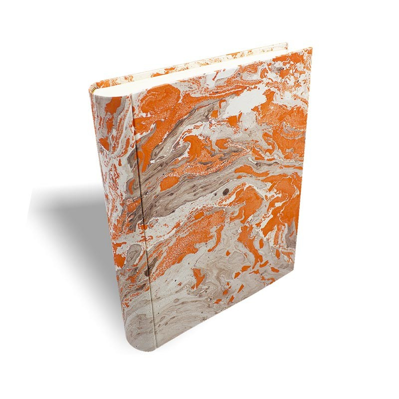 Photo album in marbled paper brown orange Francesca - Conti Borbone - standard prospective