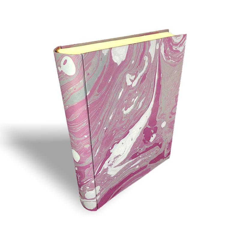 Photo album in marbled paper grey violet white Veronica - Conti Borbone - standard spine
