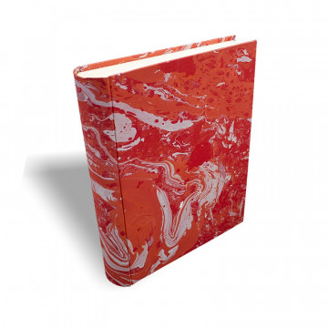 Photo album Amanda in marbled paper red coral white - Conti Borbone - standard prospective