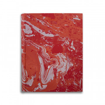 Photo album in marbled paper red coral white Amanda - Conti Borbone - standard