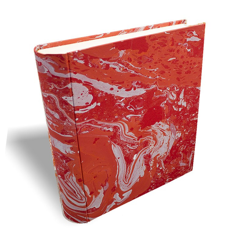 Photo album Amanda in marbled paper red coral white - Conti Borbone - large prospective