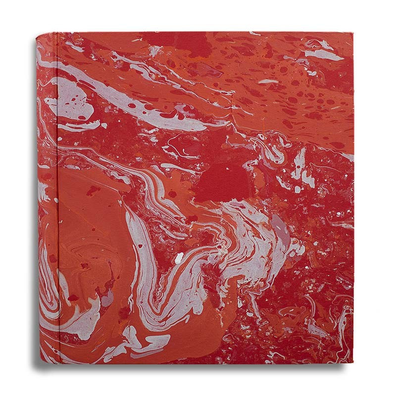 Photo album Amanda in marbled paper red coral white - Conti Borbone - large