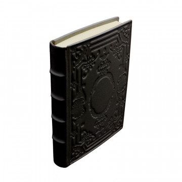Leather diary Dark, black color with decoration - Conti Borbone - Milan - made in italy - spine