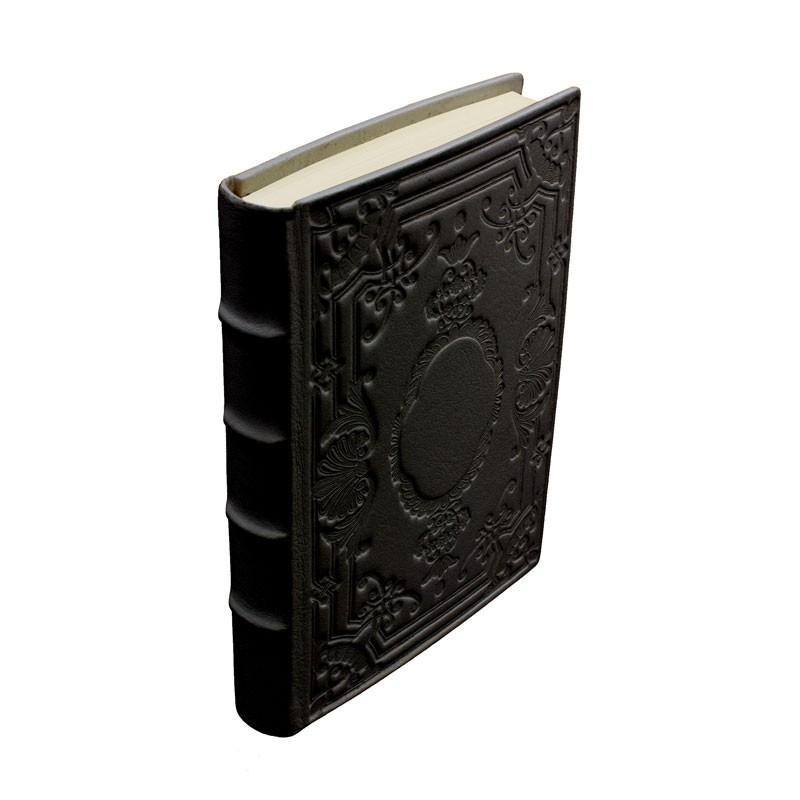 Diario in pelle Dark colore nero con decorazione - Conti Borbone - Milano dorso