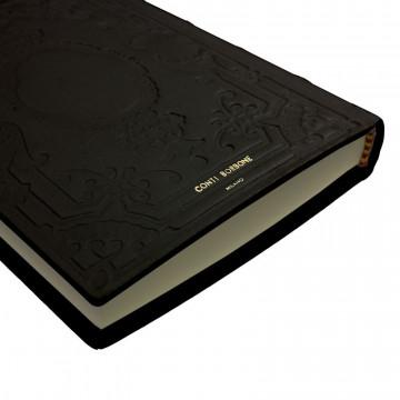 Diario in pelle Dark colore nero con decorazione - Conti Borbone - Milano brand