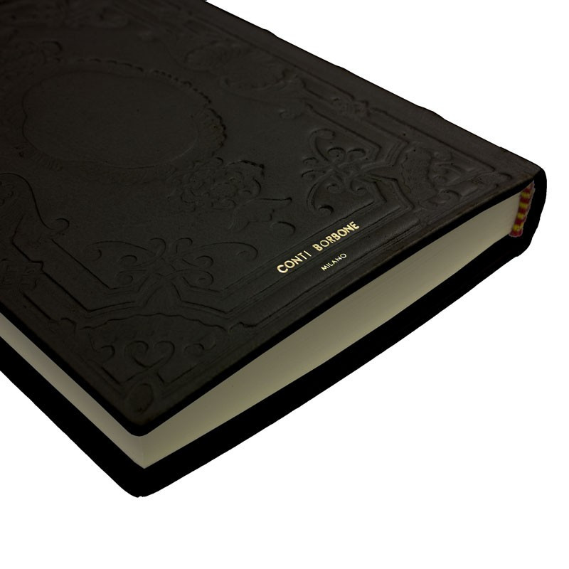 Leather diary Dark, black color with decoration - Conti Borbone - Milan - made in Italy - Brand