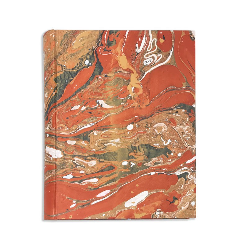 Photo album in marbled paper brown green orange Carmen - Conti Borbone - Front standard