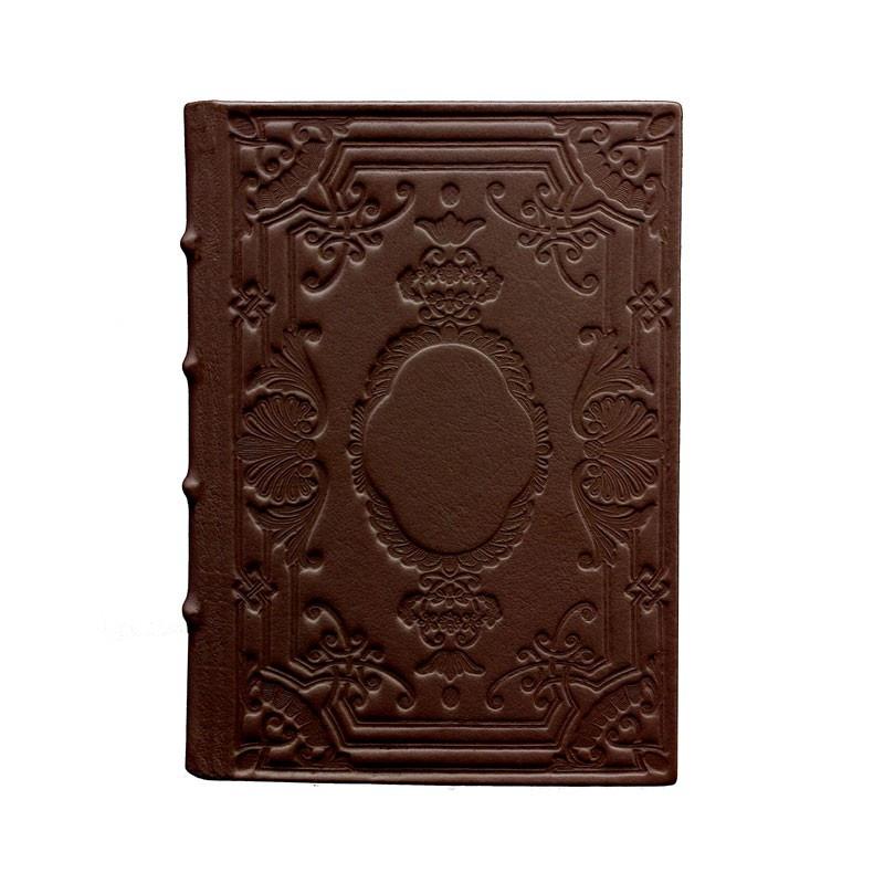 Diario in pelle Cuoio colore marrone con decorazione - Conti Borbone - Milano - fronte