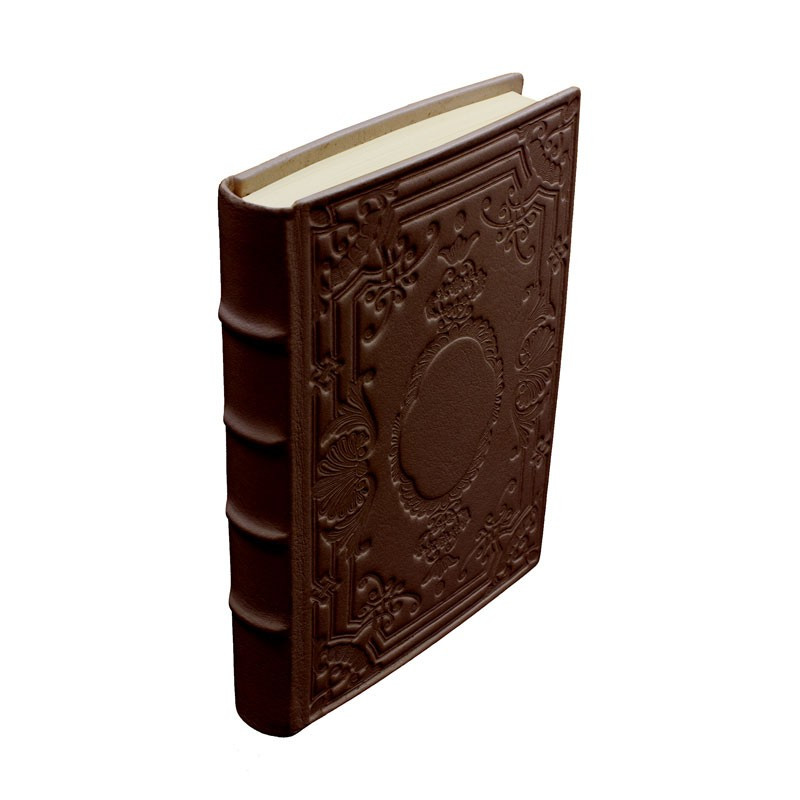 Cuoio leather diary, brown color with decoration - Conti Borbone - Milan - made in Italy - Spine