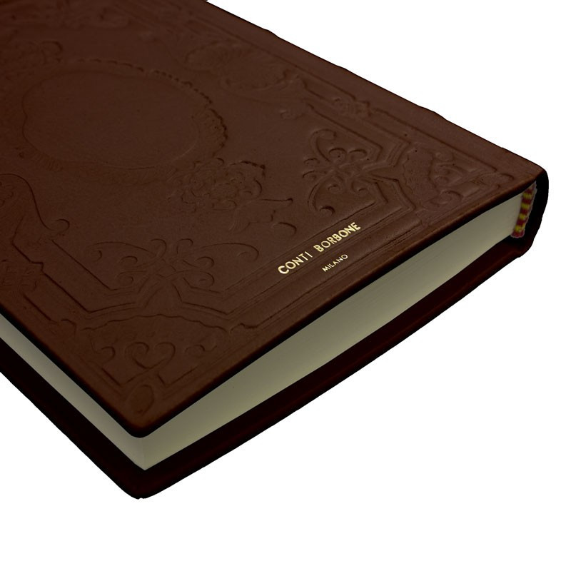 Cuoio leather diary, brown color with decoration - Conti Borbone - Milan - made in Italy - Brand