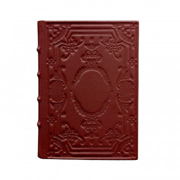 Ruby leather diary, bordeaux color with decoration - Conti Borbone - Milan - made in Italy