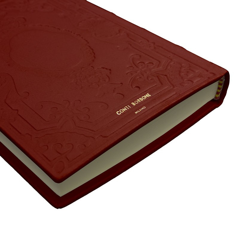 Ruby leather diary, bordeaux color with decoration - Conti Borbone - Milan - made in Italy - Brand