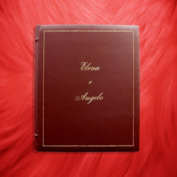 Ruby leather photo album - Conti Borbone - Bordeaux bovine leather - Standard decor 90 italic