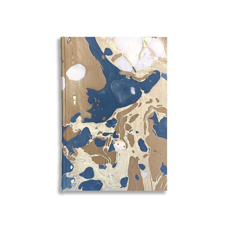 Quaderno in carta marmorizzata a mano bianca blu marrone Sonia - Conti Borbone - fronte