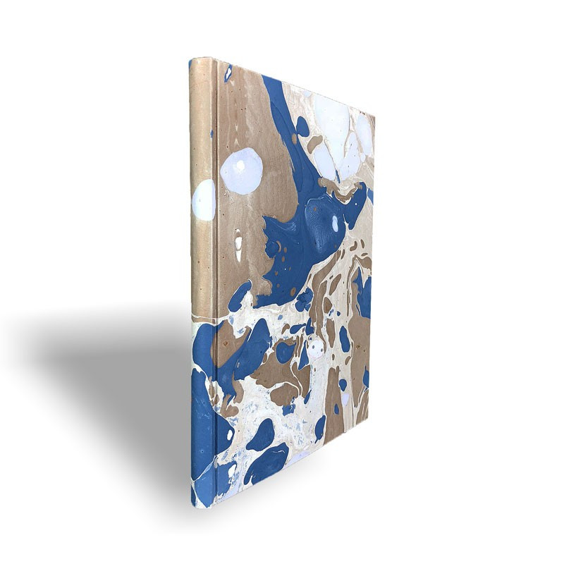 Marbled paper notebook brown, blue, white Sonia - Conti Borbone - Spine
