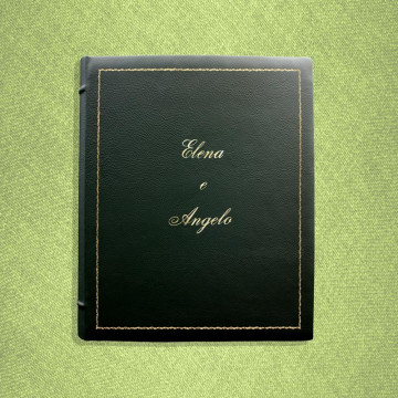 English leather photo album - Conti Borbone - Green bovine leather - Standard decor 90 italic
