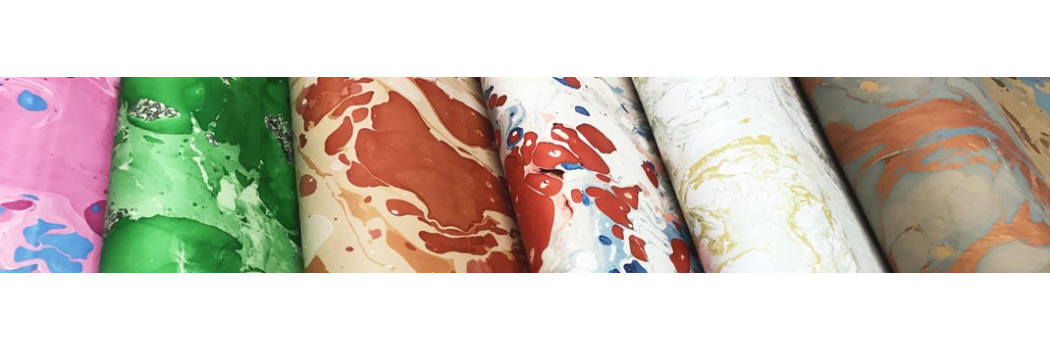 Marbled paper - Bourbon Counts - Colorful hand marbled papers